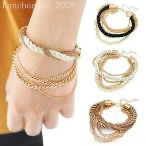 NEW-Womens-Elegant-Gold-Chain-Braided-Rope-Multilayer-Bracelet-Handmade-Chain