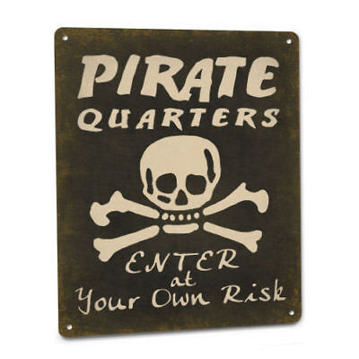 Pirate Quarters Sign Bedroom Decor Boy Caribbean Blackbeard Hook Jolly Roger Kid - Caribbean Decor