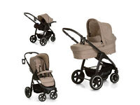 EXDISPLAY Hauck SOUL PLUS parent facing 3 in 1 travel system pram pushchair BEIGE ISOFIX CAR SEAT