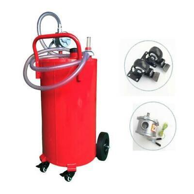 35 Gallon Gas Caddy Storage Drum Autos Fuel Transfer Tank Wrotary Pump Hose