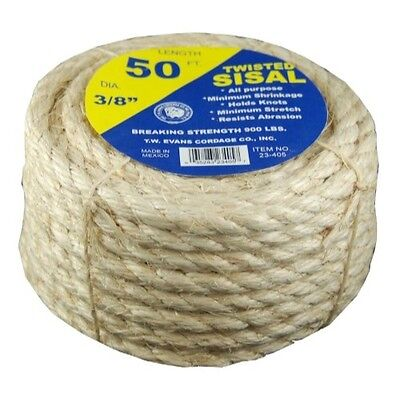 T.W . Evans Cordage 23-205 1/4-Inch by 50-Feet Twisted Sisal Rope
