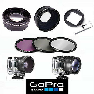 GOPRO HERO5 BLACK WIDE ANGLE LENS+TELEPHOTO ZOOM LENS + FILTER KIT ADAPTOR INC