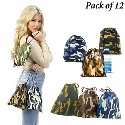 Camouflage Drawstring Bags Set Loot Sack Party Favors Camo Backpacks