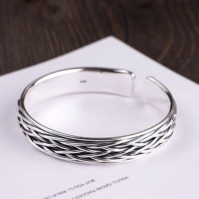 Real 999 Sterling Pure Silver Cuff Bracelet Bangle Braided  Woven -