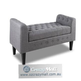 Tufted Faux Linen Fabric Storage Ottoman Grey/Beige