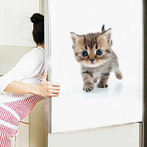 Katze Aufkleber 3D Bild Wandtattoo Schrank Bad Badezimmer WC Toilettendeckel