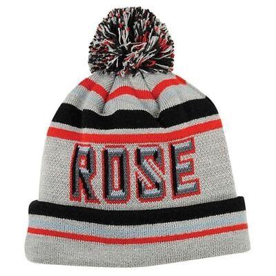 Rose Beanie Hat - ADIDAS Derrick Rose Beanie Gray Red Black Knit Pom Cuffed Winter Hat cap
