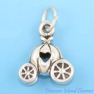 CINDERELLA PRINCESS PUMPKIN CARRIAGE 3D .925 Solid Sterling Silver Charm