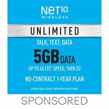 Net10 Prepaid Wireless Phone Plan + SIM - Unlimited Talk & Text 5GB per Month
