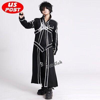 Sword Art Online Kazuto Kirigaya Kirito New Black Coat Halloween Cosplay Costume