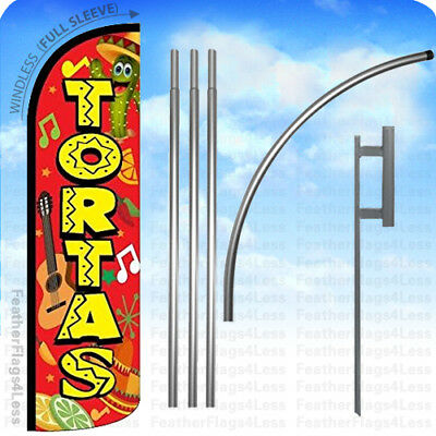 Tortas - Windless Swooper Flag Kit Feather Banner Sign 15 Deluxe Pole Set Rq