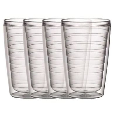 16 Oz Plastic Tumblers (Plastic Tumblers Double Wall Insulation Clear Set of 4 16oz Hot & Iced)
