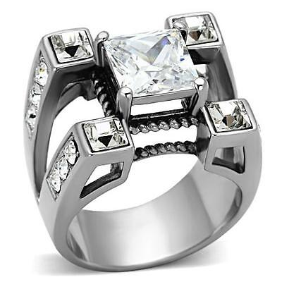 Men's Square Cut cz Stainless Steel Silver Tone Ring Bold Princess (Bold Square Ring)