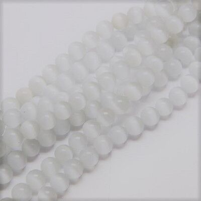 20 x 8mm White Cats Eye Beads, UK Seller, Jewellery Making, Glass