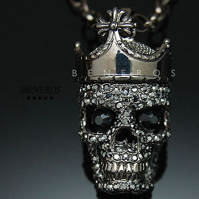 Affliction Skull Crown King Pendant Necklace Black Crystal Biker Jewelry