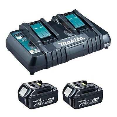 Makita 2 x 18V 4.0 Ah Li-Ion Battery and Dual-Port Rapid Charger Kit