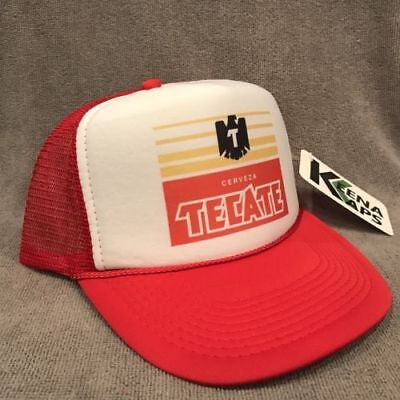 Tecate Cerveza Beer Trucker Hat Vintage Style Snapback Mexico Party Cap Red 2252 - Red Party Hat