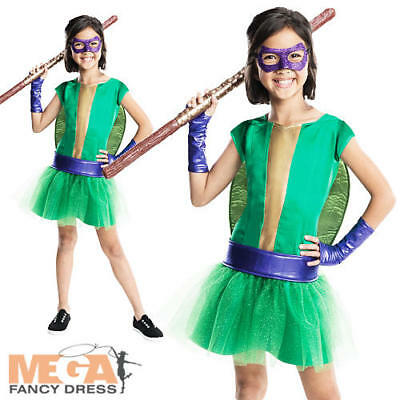 Donatello Girls Teenage Mutant Ninja Turtles Fancy Dress TMNT Superhero Costume (Tmnt Girls Kostüme)