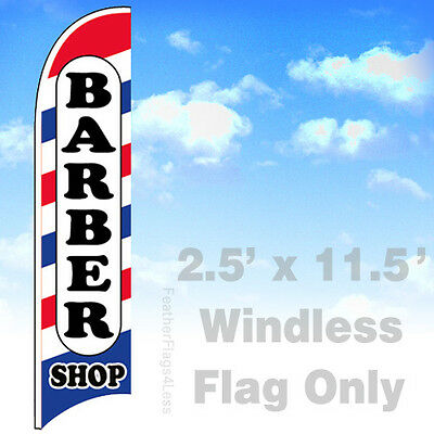 Barber Shop - Windless Swooper Feather Flag 2.5x11.5 Banner Sign - Wb