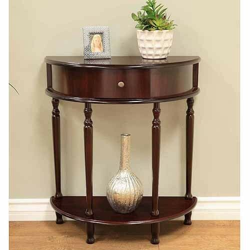 Fine Details About Half Round Console Table End Side Hallway Entryway Tables Espresso Brown Gmtry Best Dining Table And Chair Ideas Images Gmtryco