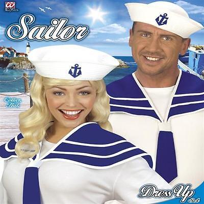 Matrosen Kostüme (MATROSEN KOSTÜM SET für Damen und Herren Seemann Mütze Kragen weiß (5469))