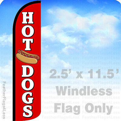 Hot Dogs - Windless Swooper Flag Feather Banner Sign 2.5x11.5 - Rz
