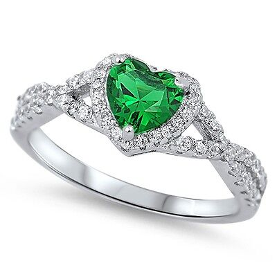 (.925 Sterling Silver Simulated Emerald Heart CZ Promise Ring Size 4-12 NEW)