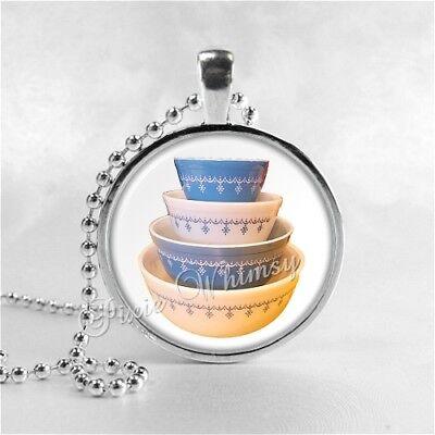 Vintage PYREX Blue Garland Bowl Set Pendant Necklace Gift for Pyrex Collector