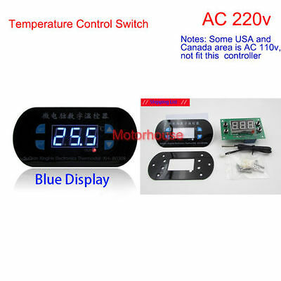 Ac 220v Digital Led Thermostat Temperature Alarm Controller Sensor Meter Blue