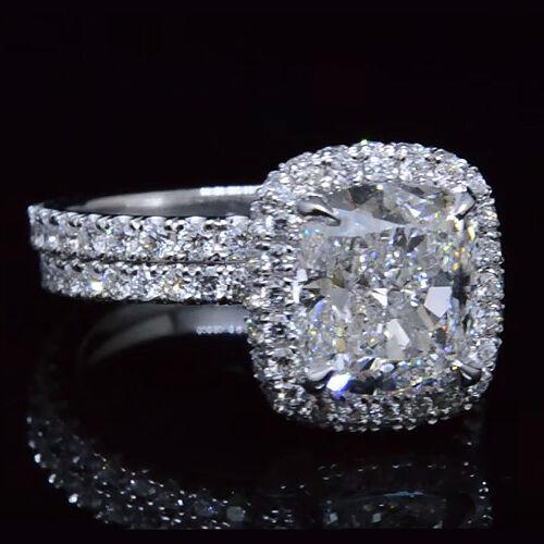 Huge 5.70 Ct Cushion Cut Diamond Eternity Bridal Ring Set I,VS2 GIA Platinum