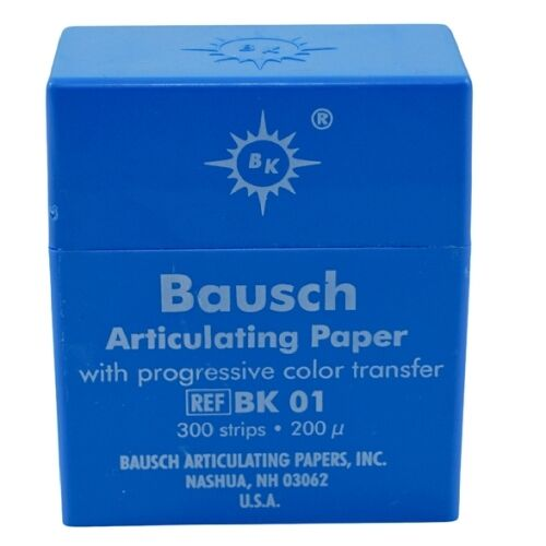 Dental Bausch Articulating Paper Double Sided Blue BK 01 300 Strips 200 Microns