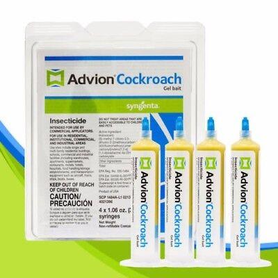 ADVION Roach Killer / ADVION Cockroach Gel Bait 4 Tubes - Plunger&Tips - *FRESH*
