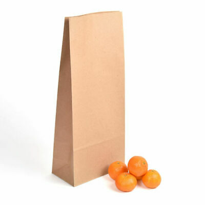 14lb Block Bottom Brown Recyclable, Biodegradable Paper Kraft Bags - Pack of 125