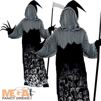 Dark Shadow Creeper Boys Fancy Dress Halloween Grim Reaper Kids Childs Costume ()