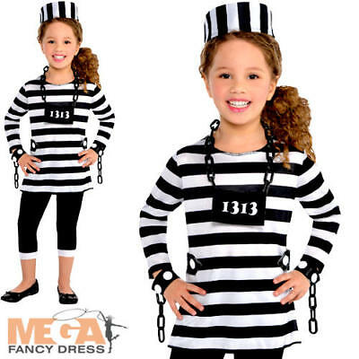 Kids Robber Costume (Prisoner Girls 4-16 Fancy Dress Prisoner Convict Robber Uniform Kids Costume)