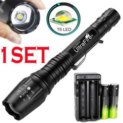 Charger UltraFire Tactical T6 LED 18650 Flashlight 50000LM Zoomable Torch Light