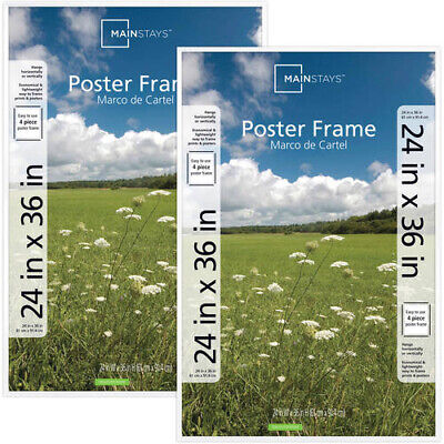 Mainstays 24x36 Basic Poster Picture Document Frame New Black or White Set Of 2