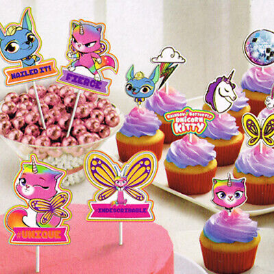 RAINBOW BUTTERFLY UNICORN KITTY CAKE TOPPERS (12) ~ Birthday Party Supplies - Rainbow Kitty