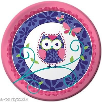 PATCHWORK OWL LARGE PAPER PLATES (8) ~ Birthday Party Supplies Dinner Lunch Cute](Owl Party Plates)