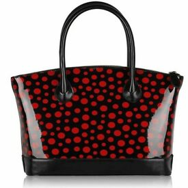 Black/Red Polka Dot Tote Handbag