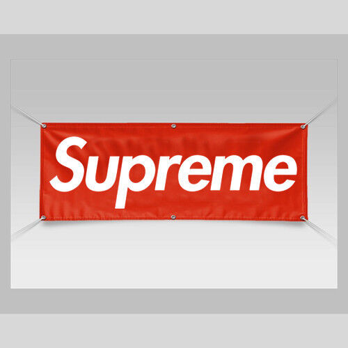 NEW 6ft x 2ft SUPREME Logo Vinyl Banner with Grommets Durable FREE Shipping