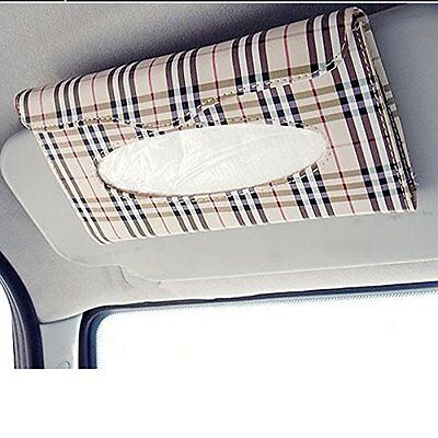 Car Auto Accessories Sun Visor Tissue Paper Holder Clip Tan Leather Wallet