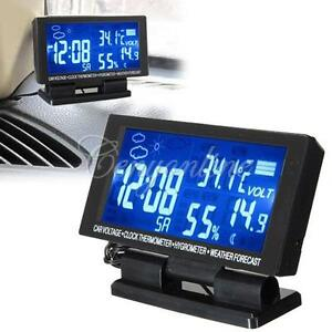 LED Digital Clock Car F/C Thermometer Hygrometer Voltage Weather Forecast 12V