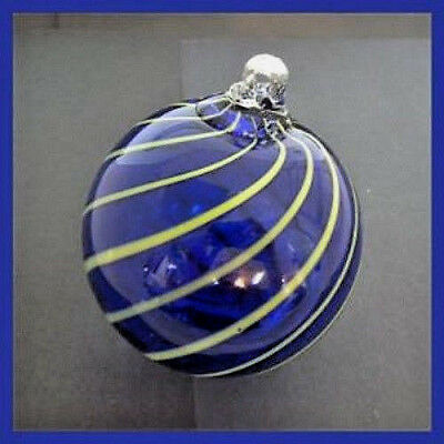 "Hanging Glass Ball 4"" Diameter Cobalt Blue with Lime Lines (1) HB14"