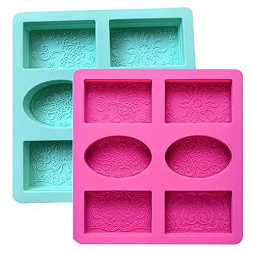 Silicone Soap Molds Set of 2, 6 Cavities Rectangle Oval Silicone Soap Molds for