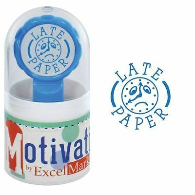 New Excelmark Motivations Pre Inked Teacher Stamp Late Paper Blue Ink