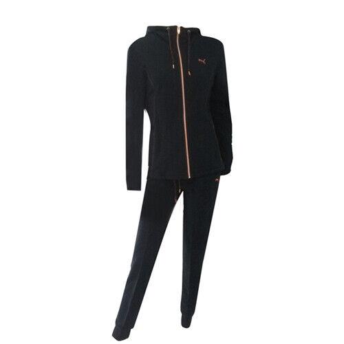 Dettagli su Puma Donna Cappuccio in Pile Zip Suit Tuta Cotone 591677 03 A23D