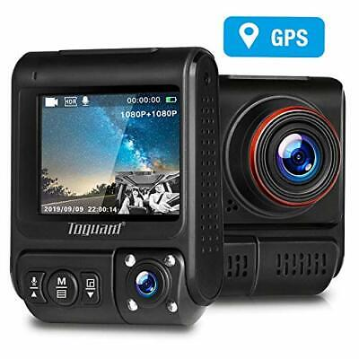 TOGUARD Uber Dual Dash Cam Built-in GPS in Car Driving Recorder 1080P Front and