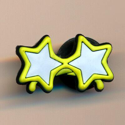 Original Jibbitz ® Brille mit Sternen Gelb / Stars / Crocs ® Shoe Charms / NEU