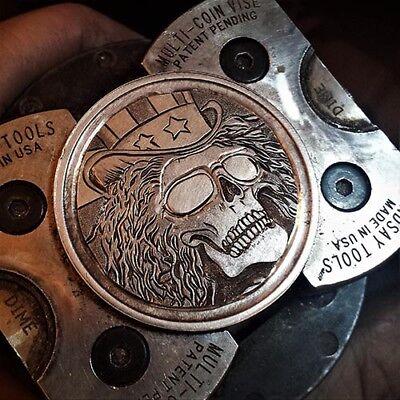 Coalburn Hobo Nickel  skull on 1 oz silver round Grateful Dead US Blues coin